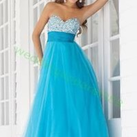 2012 Hot Sale Strapless Blue Pink Red Organza Ruffled Beaded Empire Prom Dress