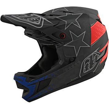 Troy Lee Designs Adult | BMX | Downhill | Mountain Bike | Full Face D4 Carbon MIPS Freedom 2.0 Helmet (Large, Black/Red)