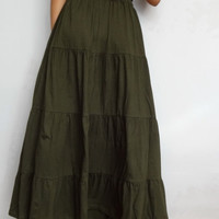 Clearance SALE 30%OFF Women Ruffle Long Skirt , Casual Gypsy, Bohemian , Cotton Blend In Army Green (Skirt *B7).