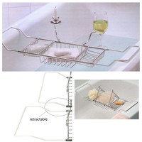 Bathtub Tray and Caddy - Bathroom Wine Glass Racks With Reading Holder
