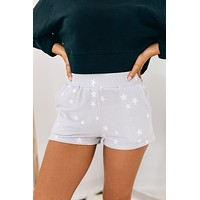 Night Lights Star Printed Shorts (Light Grey/White Star)