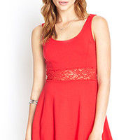 FOREVER 21 Lace Fit & Flare Dress Red Large