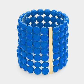 """faceted beads stretch bracelet bangle 2.75"""" wide 7 row"""