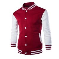 Trendy Winter Jacket New Men/Boy Baseball  Men 2017 Fashion Design Wine Red Mens Slim Fit College Varsity  Men Brand Stylish Veste Homme AT_92_12