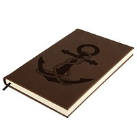 Anchor And Rope Nautical Brown Leatherette Journal
