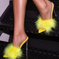 Leather With Feather Peep Toe Transparent High Heel Slippers Sexy Slip On Clear Heel Slides Women Mules Shoes