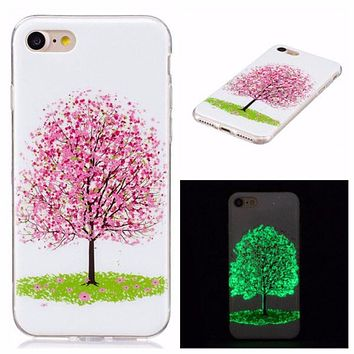 Glow in the dark Embossed Print Ultra Thin Silicone Phone Cases for iPhone 8 , 8 Plus, 7, 7Plus