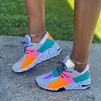 Summer new women's shoes slope heel platform platform casual shoes fashion color matching travel shoes female stitching