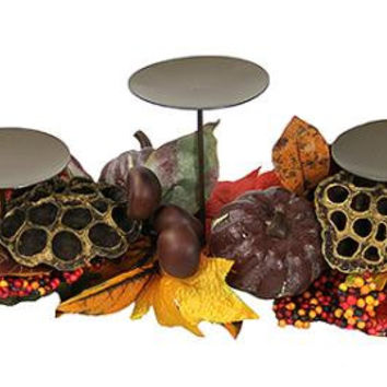 Thanksgiving Candle Holder - Holds 3 Pillar Candles