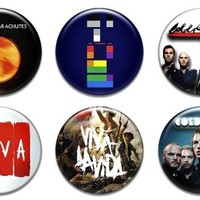 """Set of 6 New Coldplay 1.25"""" Pinback Button Badge Pin"""
