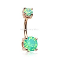 Rose Gold Opalite Sparkle Prong Set Belly Button Ring (Green)