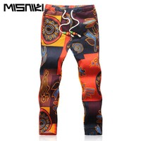 Summer Designer Linen Pants Men Printing Casual Jogger Pants Boys