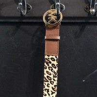 DCCK8TS NEW MICHEAL KORS SIGNATURE MK LOGO WOMEN BROWN LEATHER BELT