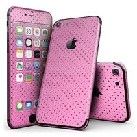 The Pink and Black Micro Polka Dot Pattern - 4-Piece Skin Kit for the iPhone 7 or 7 Plus