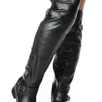 Black Faux Leather Knee High Biker Boots