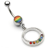Belly Ring Surgical Steel Gay Pride Epoxy Round Pendant