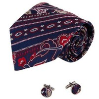 Navy Paisleys Tie for Men Red Pattern Boyfriend Gift Italian Style Silk Neck Ties Set A1146 One Size Navy,red