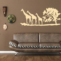 Giraffes and Tree African Savannah Vinyl Wall Decal 22343
