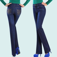 2016 Spring and autumn embroidered jeans female flare high waist plus size  women long denim pants D1142