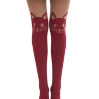 Burgundy Cat Faux Thigh High Tights