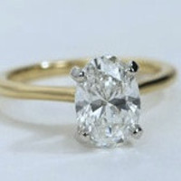 1.11ct  I-SI2 Oval Diamond Engagement Ring GIA certified 18kt Yellow Gold JEWELFORME BLUE not blue nile