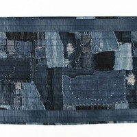 Quilted Boro Table Runner, Indigo, Reversible
