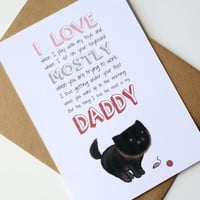 Father's Day Cat Card Birthday Card Dad - I love my Daddy