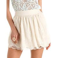Lace Trim Embroidered Skirt: Charlotte Russe