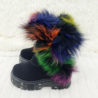 "Wang Punk Goth Rock 2"" Platform 4.5"" Hidden Wedge Furry Ankle Boots"