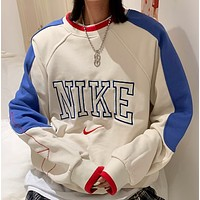 Nike Raglan color sleeve letter Embroidery Crew Neck Terry sweater