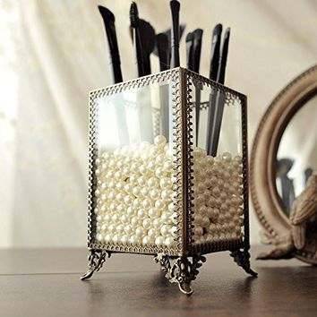 PuTwo Makeup Organizer Vintage Make up Brush Holder with Free White Pearls