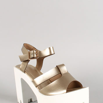 Metallic Leatherette Peep Toe Sling Back Lug Sole Platform Heel