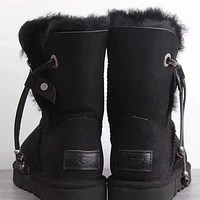 UGG Women Fur Leather Shoes Boots Winter Half Boots Shoes