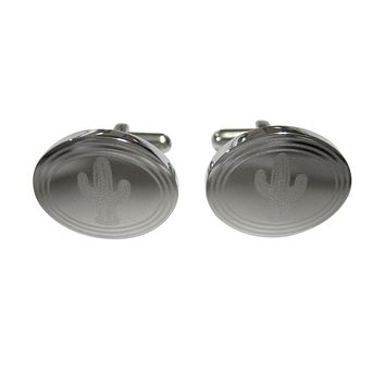 Silver Toned Etched Oval Cactus Plant Cufflinks