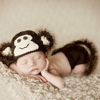 Newborn Infant Crochet Knit Hat Suit Monkey With Tail Photo Photography Props for Baby (Color: Brown) = 1958013572