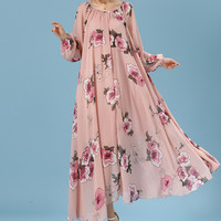 Pink Puff Sleeve Self-Tie Floral Chiffon Pleated A-Line Maxi Dress