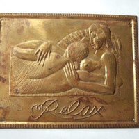Vintage brass plaque based on Eric Gill The Song of Songs 1925 woodcut of lovers, low relief plaque, Song of Solomon, Valentines gift, #219.