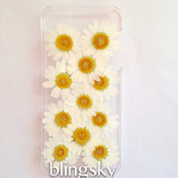 Handmade Real natural pressed flowers iphone 6 6 plus case iphone 4s 5 5s 5c case samsung galaxy s5 note 2 note 3 case cover white daisy