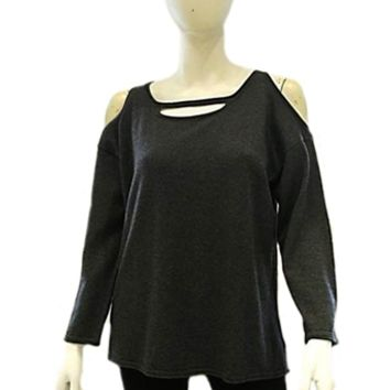 525 America Cold Shoulder Cashmere Blend Sweater Charcoal | ShopAmbience