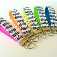 Music Note Key Chains, Wristlet Key Fobs, Neon Variety Gift Set of 5 Pink Orange Yellow Green Blue