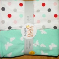 Carter's 2-Pack Poka Dots and Butterflies Swaddle Blankets