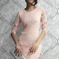Light Peach Round Neckline 3/4 Sleeves Allover Lace Dress