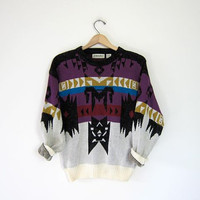 Vintage tribal sweater. 90s Southwestern knit Boho sweater. Geometric abstract print pullover. Small Medium