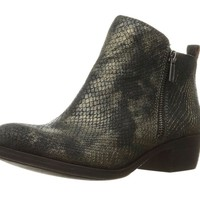 Lucky Brand Basel Black & Gold Leather Booties