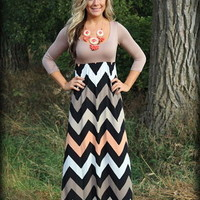 3/4 sleeve chevron taupe and coral dress