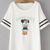 White Short Sleeve Striped Mickey Print T-Shirt