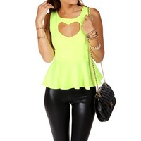 Neon Yellow Sleeveless Peplum Top