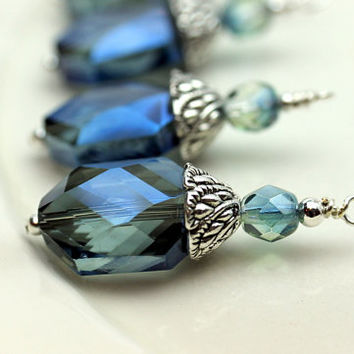 Montana Blue Faceted Oval Hexagon Faceted Crystal and Czech Firepolished Necklace Pendant Bead Earring Dangle Charm Drop Set