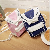 MWHM new Canvas Mini women Shoulders Bag Lady Fashion backpack Sweet Lady Lace schoolbag Bow Tie Candy Bag Travel Bag