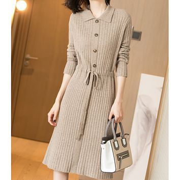 New style hot sale collar waist tie mid-length knitted sweater dress